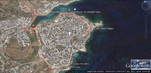 MAAA Road Relay 2014 - Marsascala Route Map