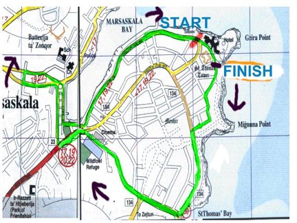 Marsascala 10K Race Map
